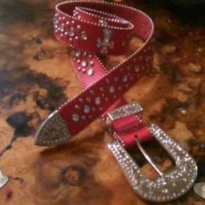 Red leather western bling jeweled studs xl belt